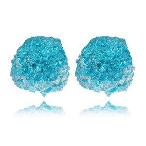 Jewelry - Blue Druzy Crystal Rock Resin Stud Earrings